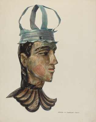 Head of Carved Figure with Tin Crown