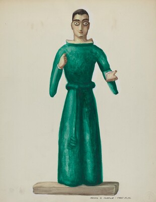 Wooden Santo in Bright Green Dress