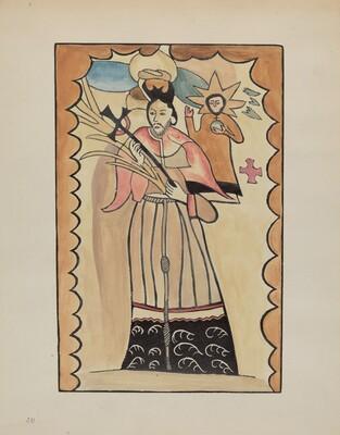 St. John Nepomucene-Painted on Buffalo Hide Prior to 1800