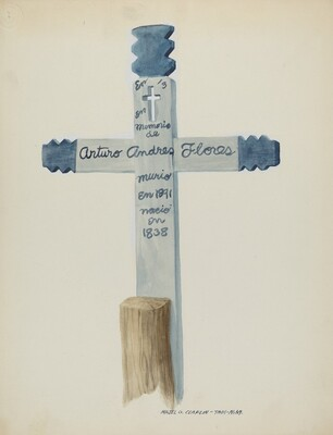 Hand Made & Painted Wooden Cross - Headstone