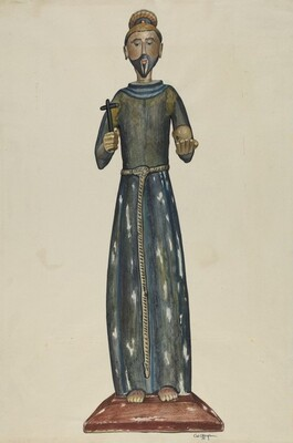 Bulto, Priest Carrying Cross and Skull