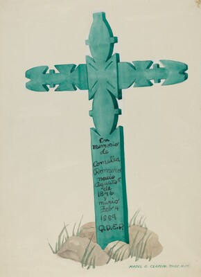Wooden Cross, Carved, Used as Headstone