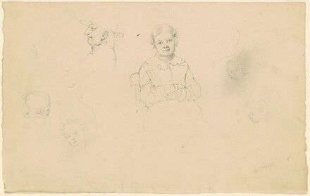 Heads, a Man, a Woman, and Children
