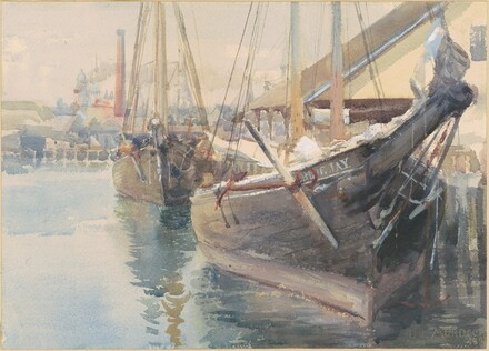 Harbor Scene with Docked Sailing Vessels