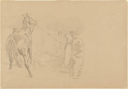 Man Pulling a Horse into a Stall