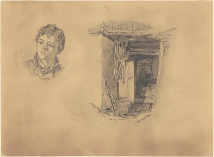 Portrait of a Small Boy and Entrance to a Mountain Shack