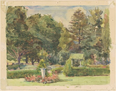 Garden with Sundial, Hedges, and Trees