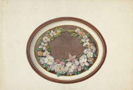 Feather Wreath Oval Frame