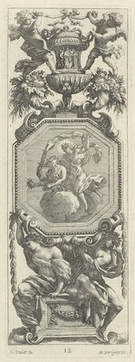 Ornamental Panel Surmounted by Two Putti and a Vase