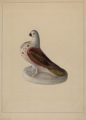 Chalkware Pigeon Figurine