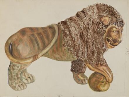 Lion and Ball Figurine