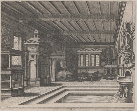 Interior with Buffet, Entrance Portal, and Canopy Bed
