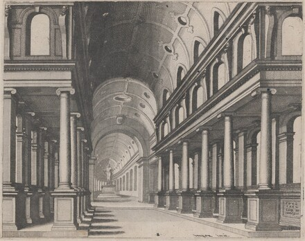 View into a Church with Ionic Columns and a Choir with a Statue