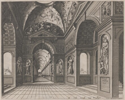 Interior of a Cross-Vaulted Hall Decorated with Grotesques