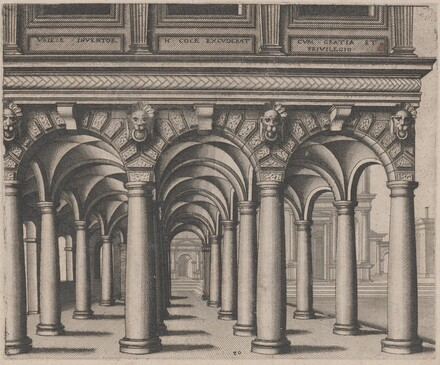 Open Hall Supported by Tuscan Columns with a Town Square on the Right