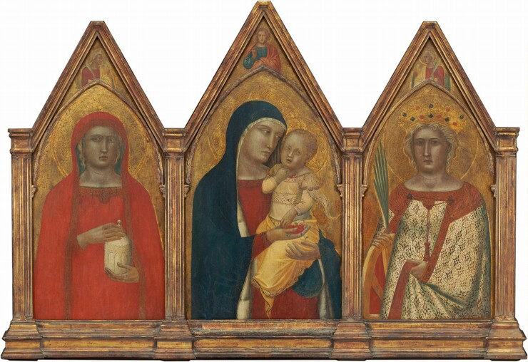 Madonna and Child with the Blessing Christ, and Saints Mary Magdalene and Catherine of Alexandria with Angels [entire triptych]