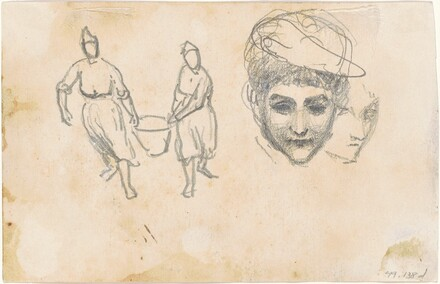 Two Peasants Carrying a Basket, Two Heads [verso]