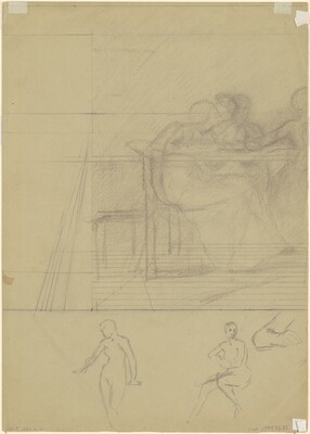 Studies of Figures and Perspective Lines [verso]