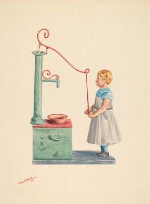 Toy Bank: Dutch Girl at Well