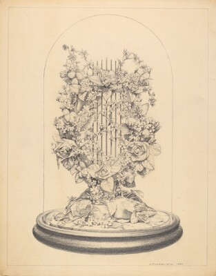 Glass Globe - Wax Flowers
