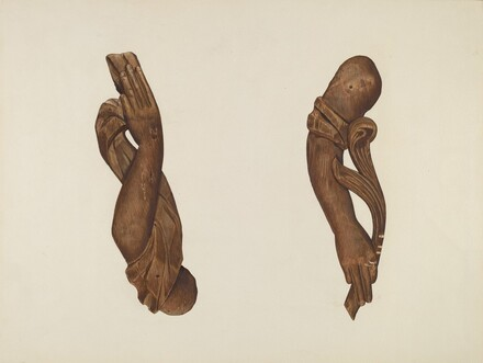 Pair of Carved Wooden Arms