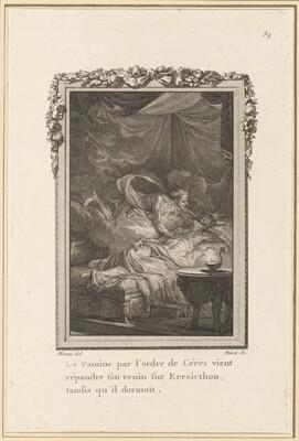 La Famine par l'ordre de Cérès vient répandre son venin sur Eresicthon, tandis qu'il dormoit