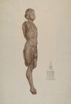 Carved Wood Figure - Flying Mercury