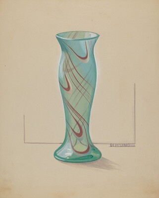 Vase (Green with Red Swirl)