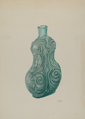 Blue-Green Corset Flask