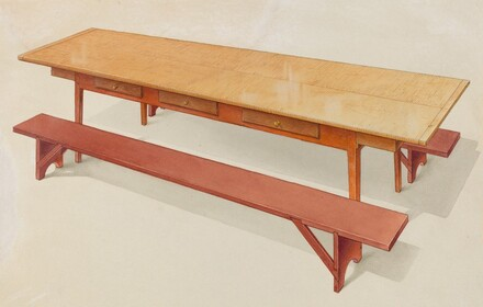 Shaker Refectory Table with Benches