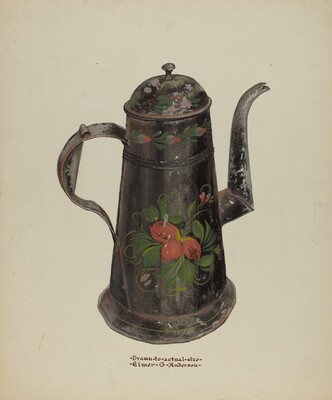 Toleware Tin Coffee Pot