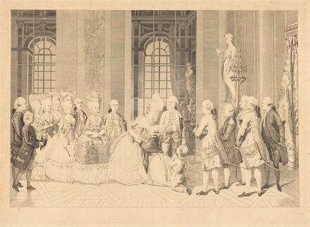 Le Reine annoncant a Mmme. de Bellegarde des juges et la liberte de son mari en mai 1