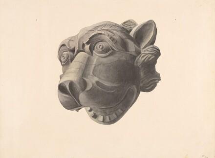 Carved Cat Head Gargoyle