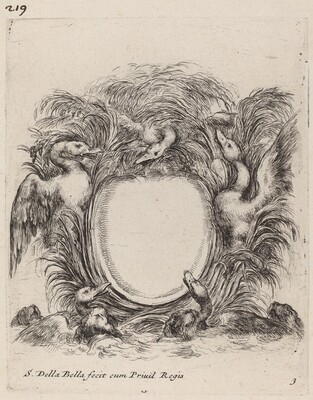 Cartouche with Ducks and Dogs
