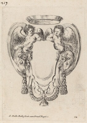 Cartouche with Rams and Infant Satyrs