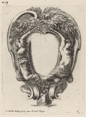 Cartouche with Two Nymphs Metamorphosed into Trees