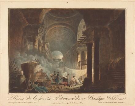 Ruine de la partie interieure  d'une basilique de Rome