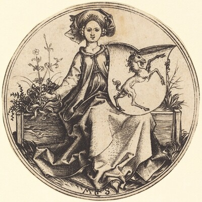 Shield with Unicorn, Held by Woman