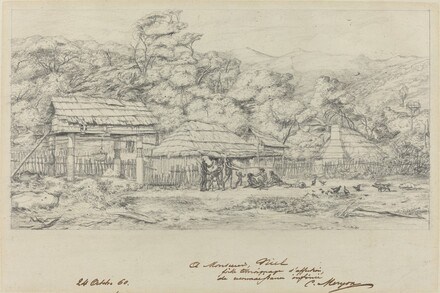 Greniers indigenes et habitations a Akaroa, presqu'Ile de Banks