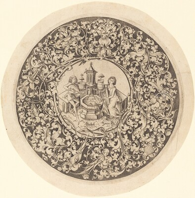 Circular Ornament with Musicians Playing near a Well