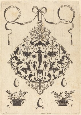 Large Pendant, Flora Standing, Holding a Fruit Garland