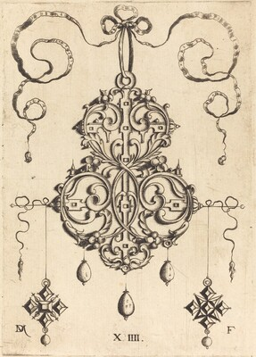 Strapwork Pendant with Three Drops and Two Cross-Shaped Pendants as Earrings at Left and Right