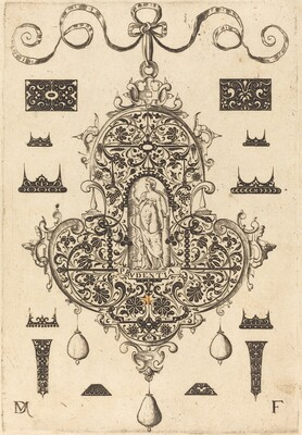 Large Pendant, Prudence Standing at Centre