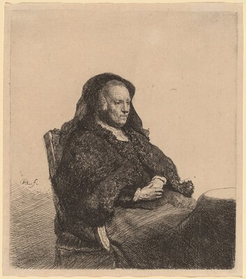 The Artist's Mother Seated at a Table, Looking Right