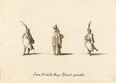 Lady in Long Cloak, and Two Gentlemen