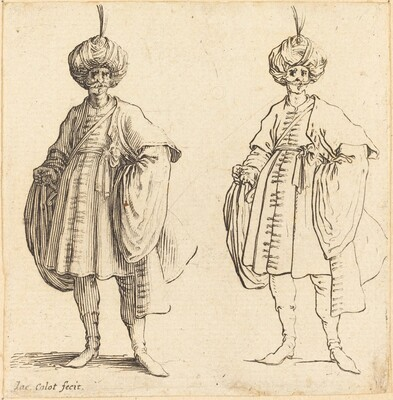 Two Turks Dressed in Turbans with a Plume