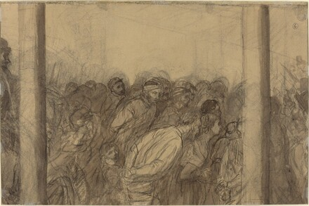 Crowd of People Seen between Two Columns [verso]