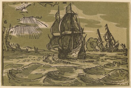 Two Three-Master Ships off a Coastline
