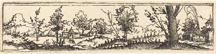 Landscape with Six Single Trees and Three Small Farm-Houses