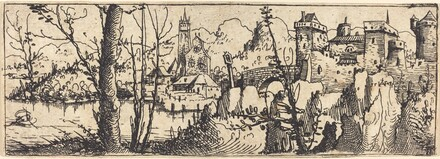Landscape with Castle at Right, Surrounded by Rocks